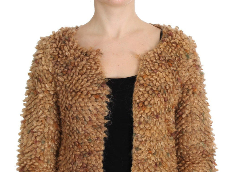 Brown Wool Blend Long Cape Sweater