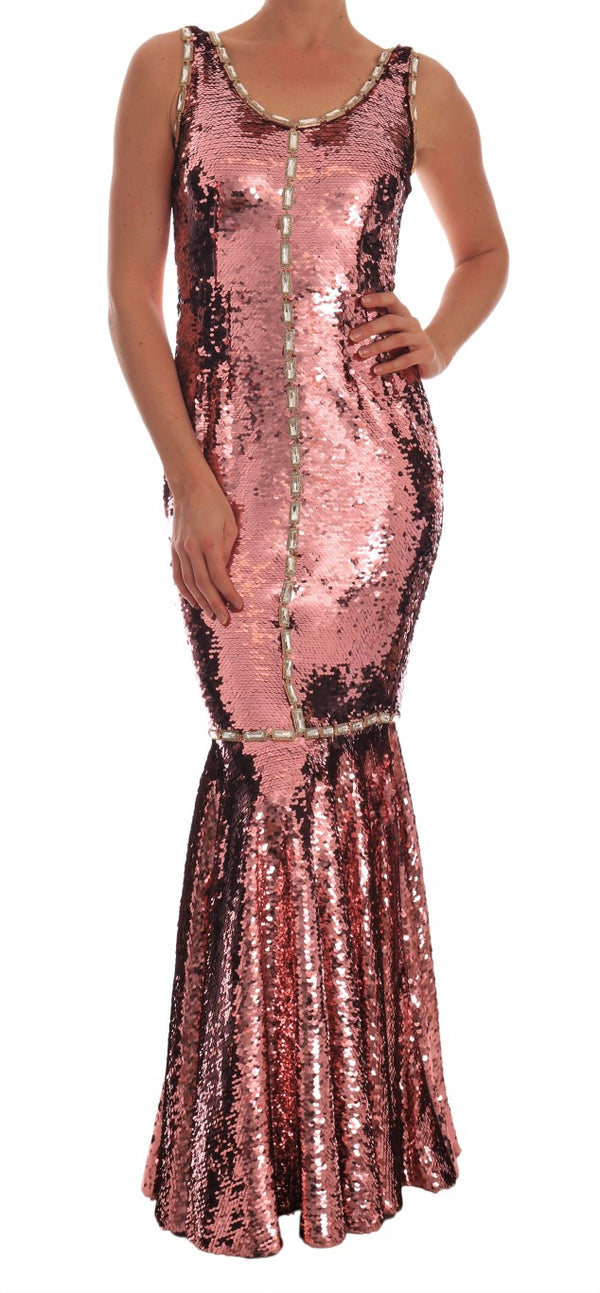 Crystal Pink Sequined Sheath Gown