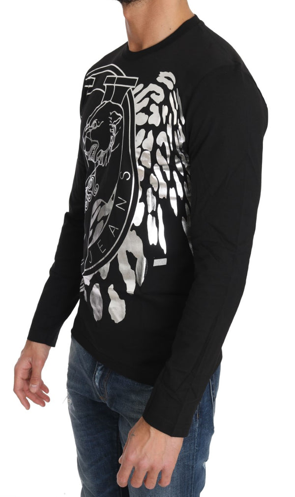 Black Cotton Silver Tiger Crewneck Pullover