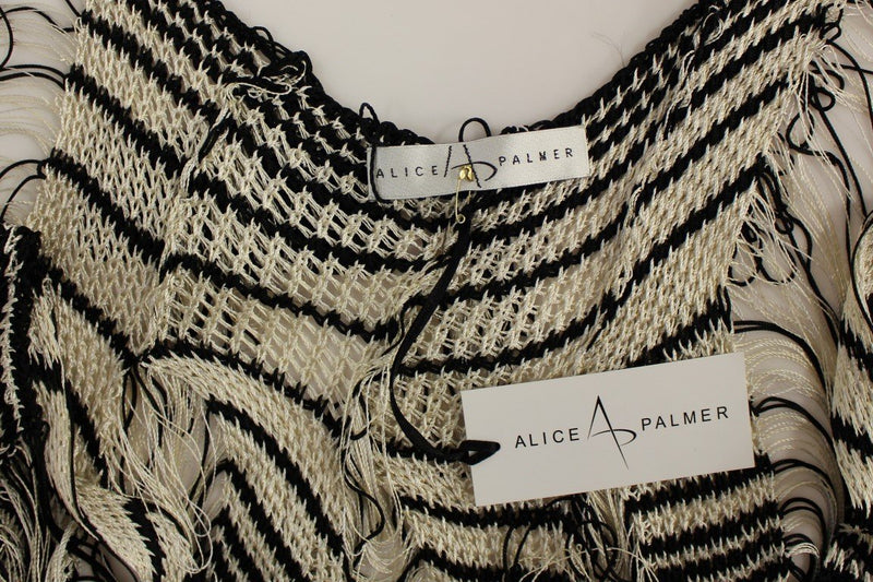 Black Chainette Knit Striped Assymetrical Dress