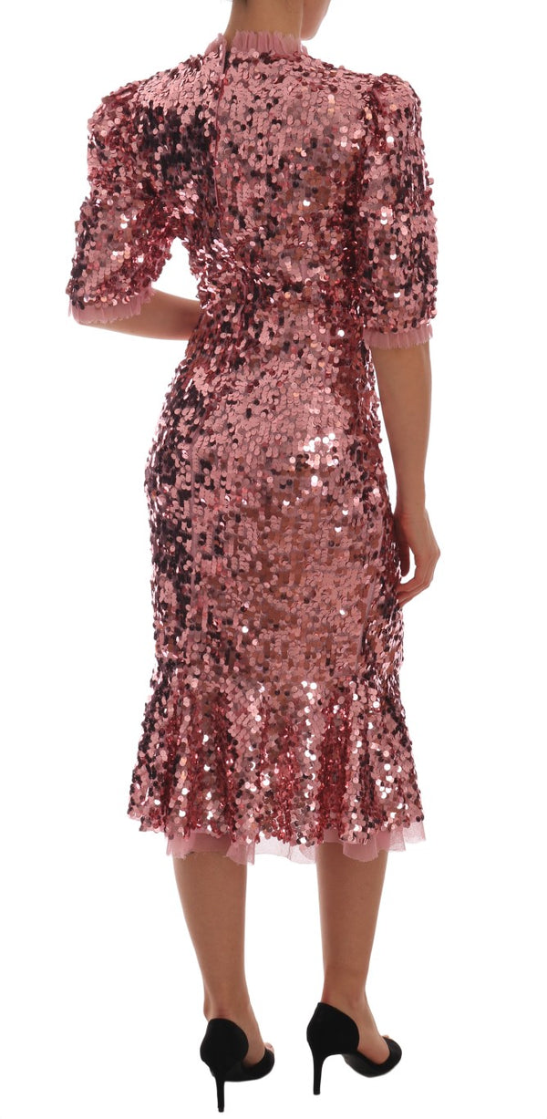 Pink Sequined Sheath Knee Gown