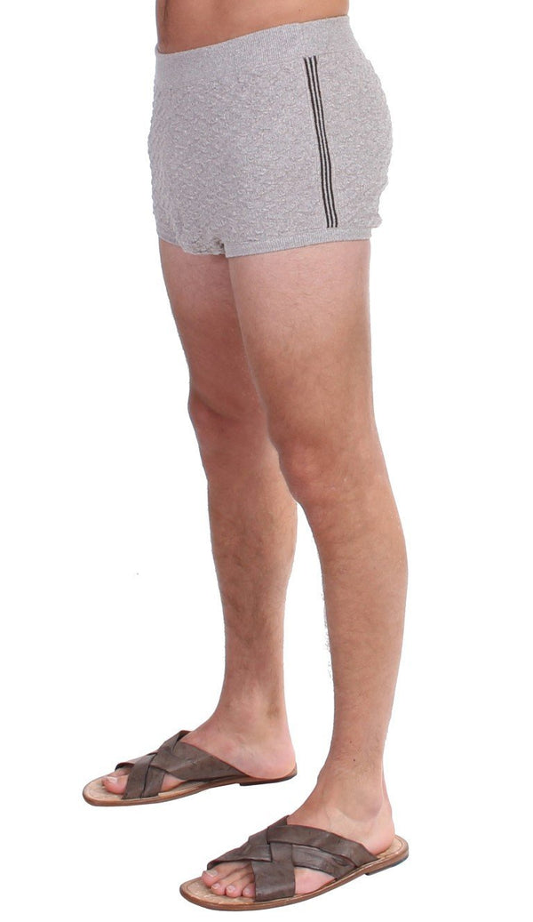 Gray Cotten Logo Casual Short Shorts