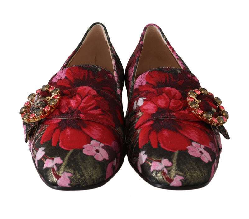 Gold Red Brocade Crystal Loafers