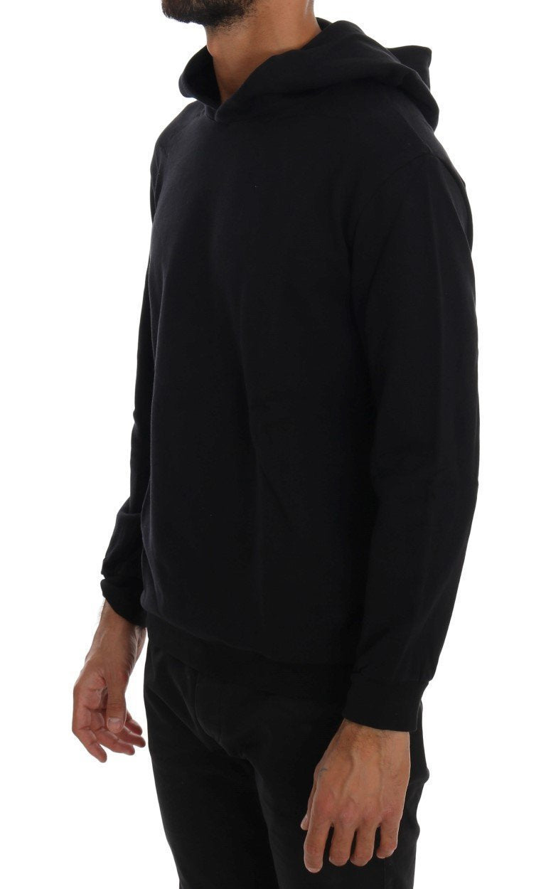 Black Sport Casual Hooded Cotton Sweater