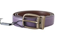 Purple Shiny Leather Gold Buckle Belt