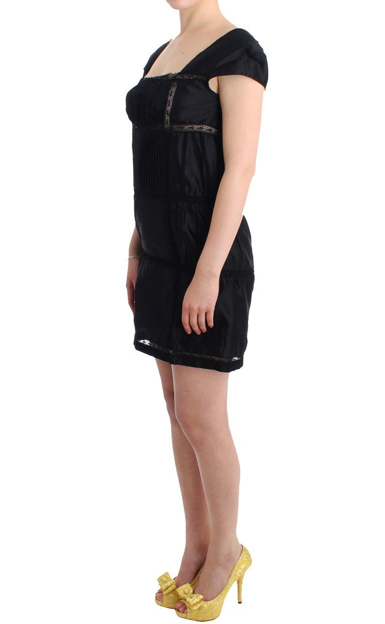 Black Shift Sheath Dress Short Sleeve Cocktail Dress