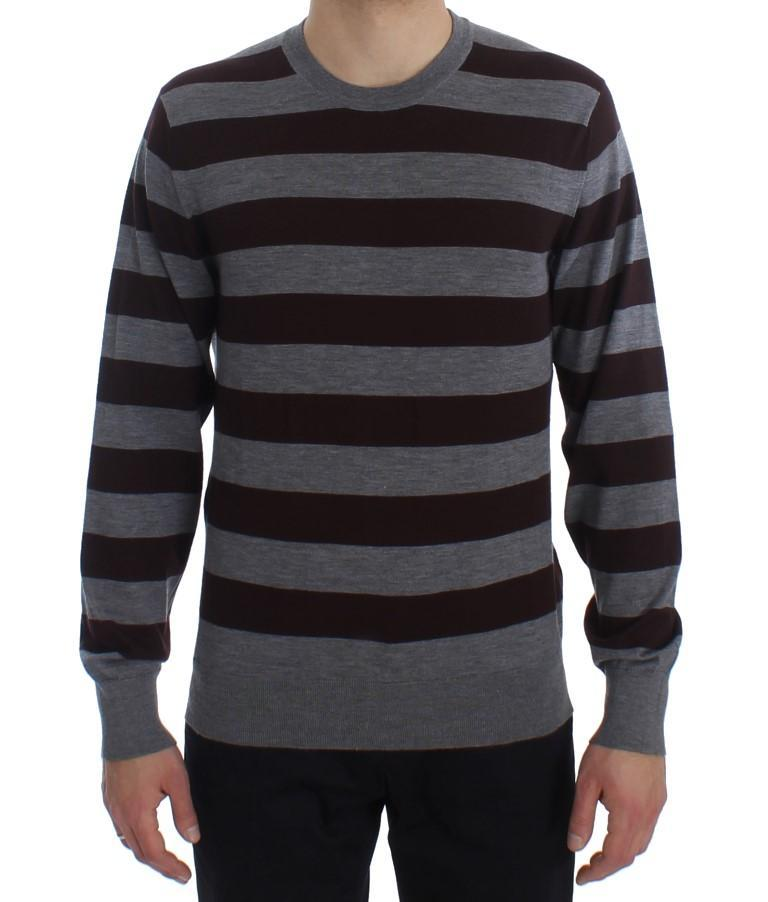 Brown Gray Striped Cashmere Pullover Sweater