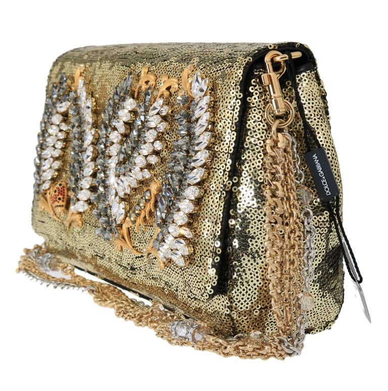Gold ANNA Sequined Crystal Clutch Bag