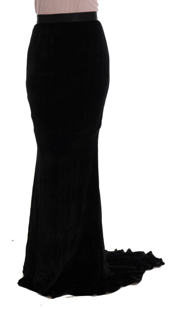 Black Velvet Long Full Stretch Maxi Skirt