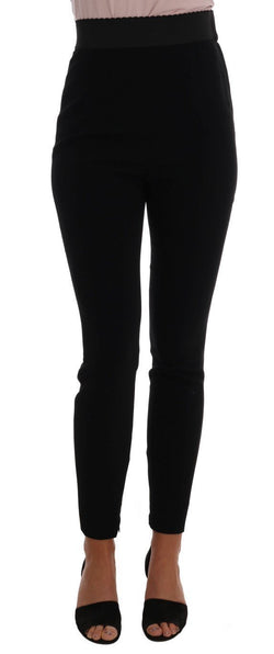 Black Viscose High Waist Pants
