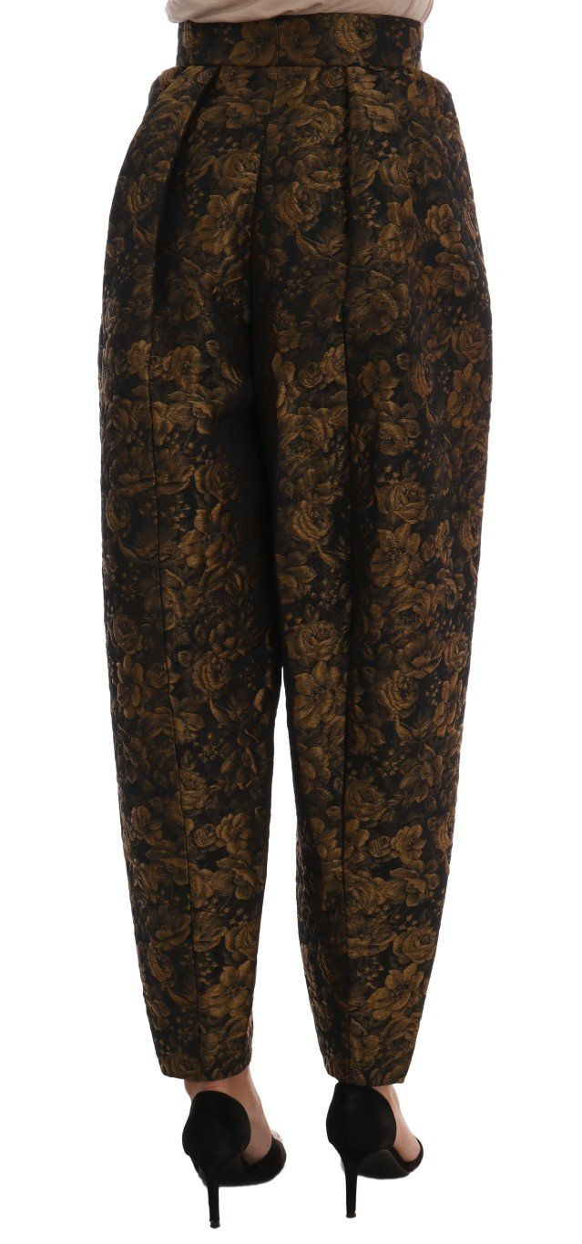 Brown Viscose Gold Floral Pattern Pants