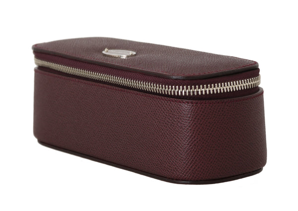 Bordeaux Leather Jewelry Sunglasses Case Bag