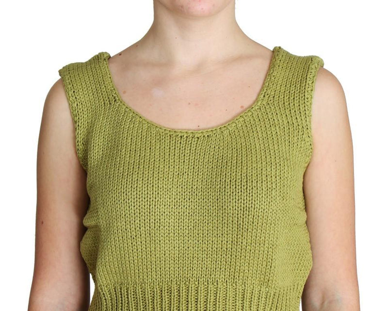 Green Cotton Blend Knitted Sleeveless Sweater