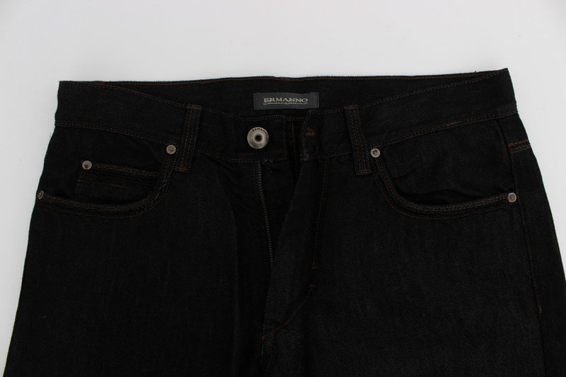 Blue Cotton Silk Denim Straight Fit Jeans