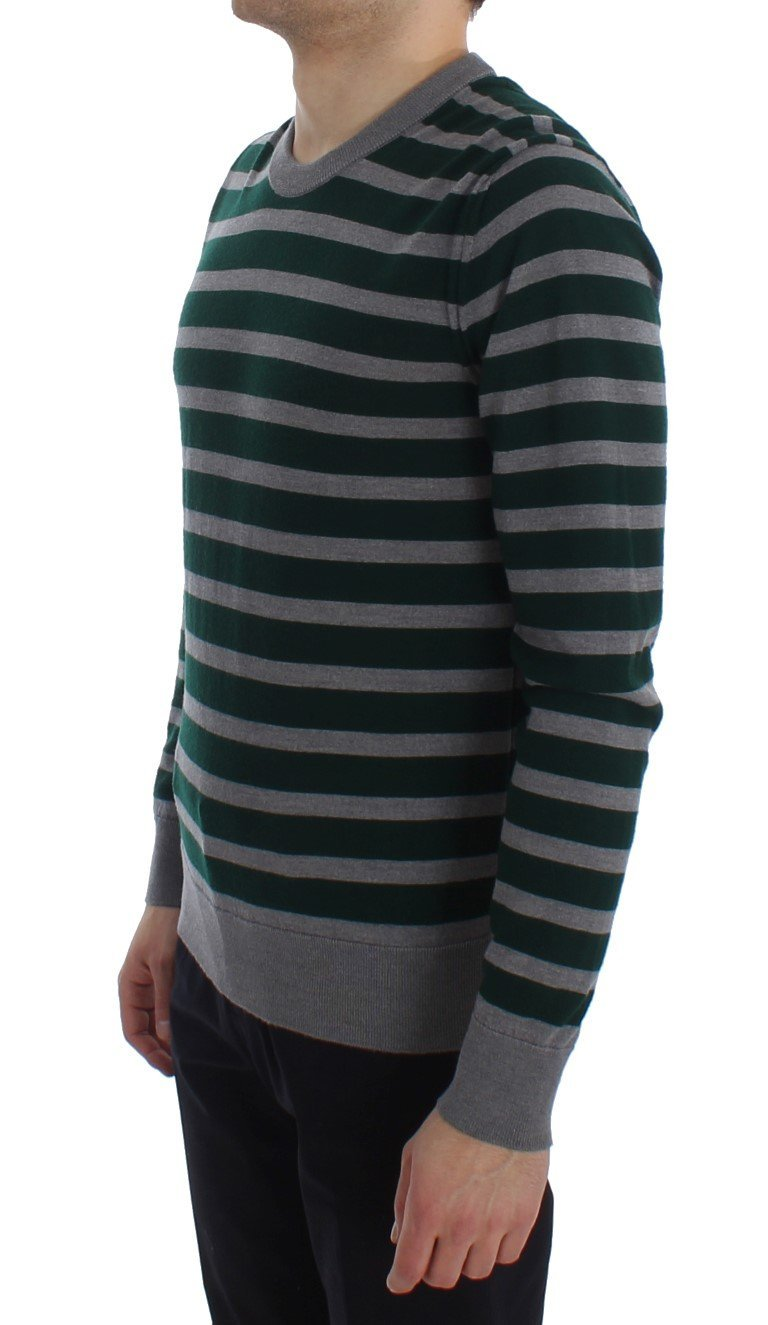 Green Gray Striped Wool Pullover Sweater