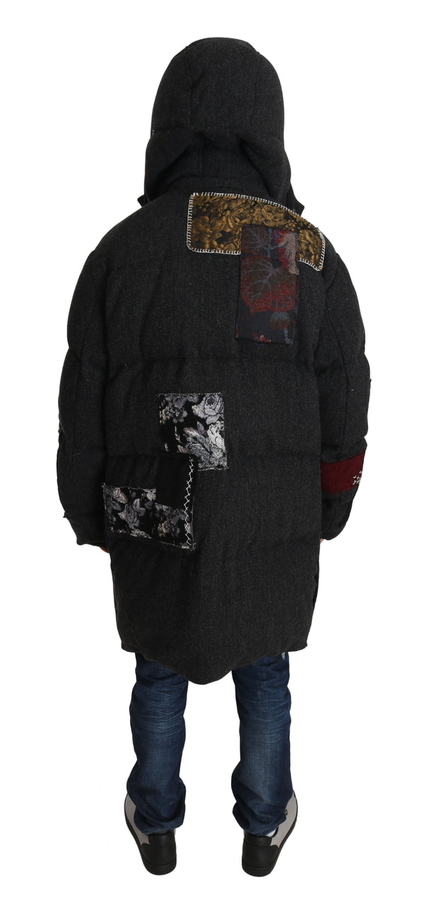Gray Wool Floral Brocade Royal King Puffer Coat