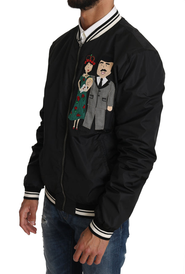 Black #DGFamily Applique Bomber Jacket