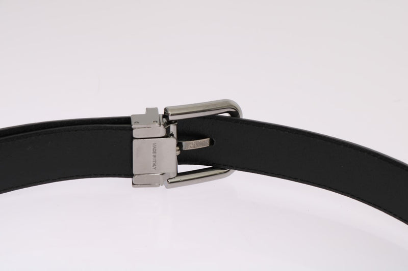 Gray Leather Silver Buckle Belt