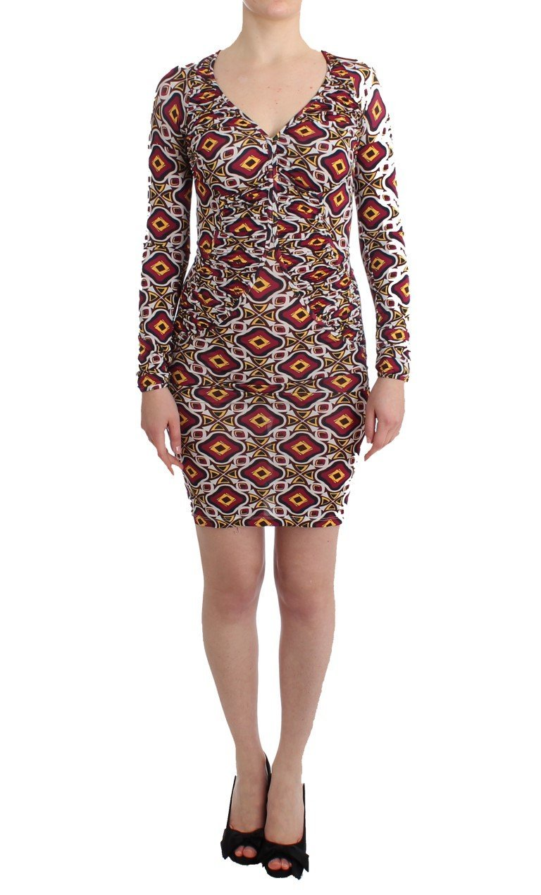 Multicolor Longsleeved Viscose Shift Cocktail Dress