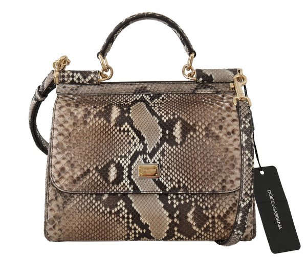 Brown MISS SICILY Python Snakeskin Hand Shoulder Bag