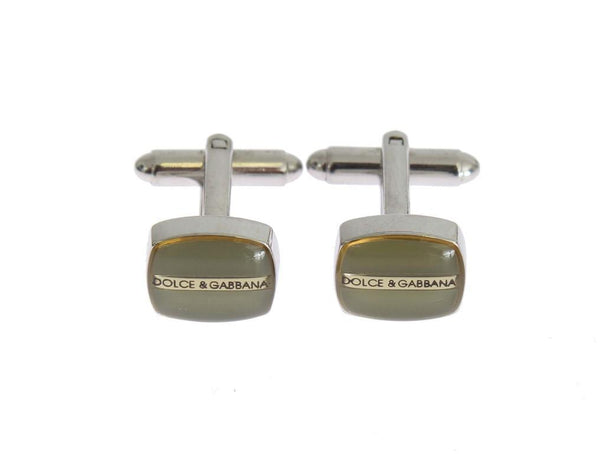 Green Silver Brass Cufflinks