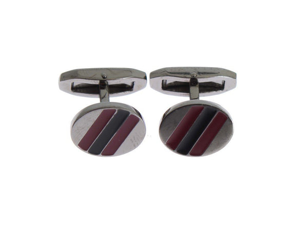 Black Red Stone Silver Brass Cufflinks