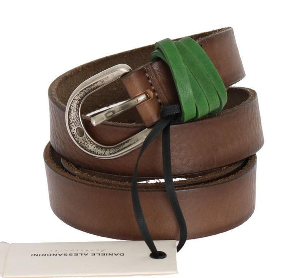 Brown Leather Silver Buckle Belt