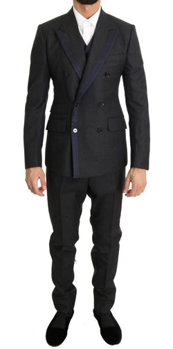 Gray Wool Blue Silk Double Breasted Suit
