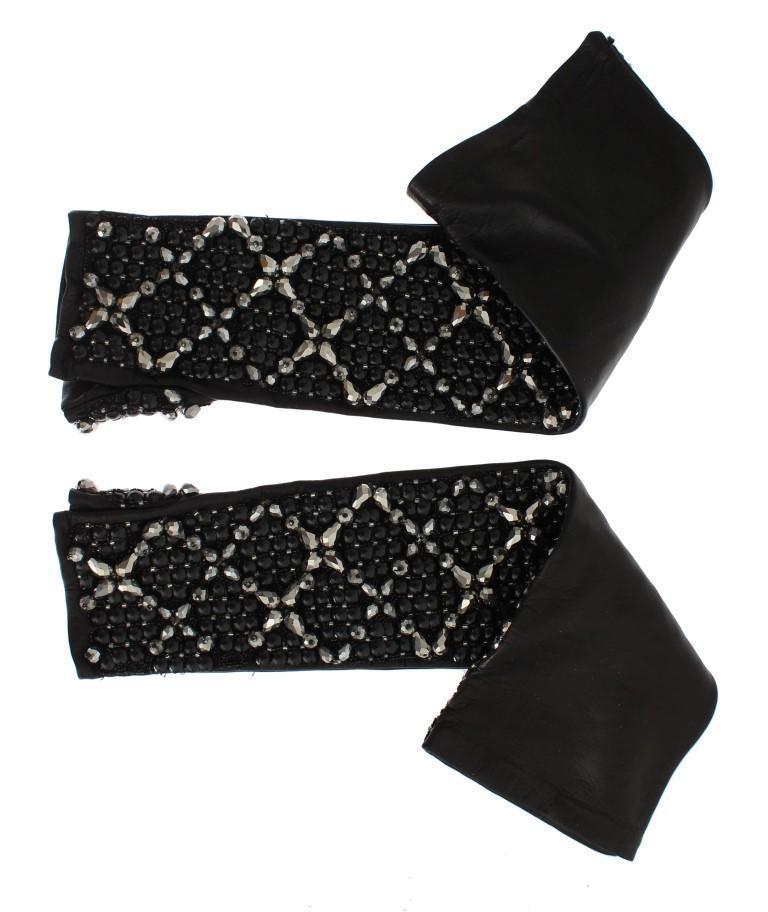 Black Leather Crystal Beaded Finger Free Gloves