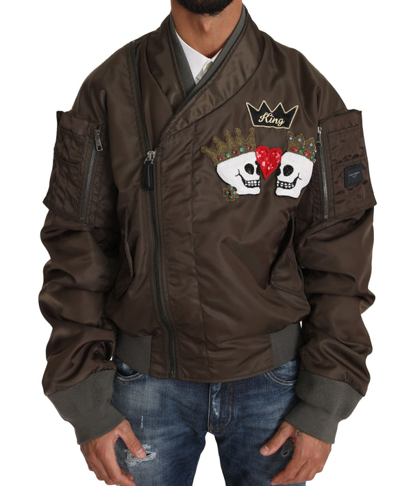 Brown Beaded Crown Skull Applique Logo Jacket