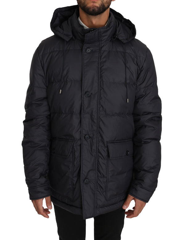Blue Winter Puffer Hooded Jacket