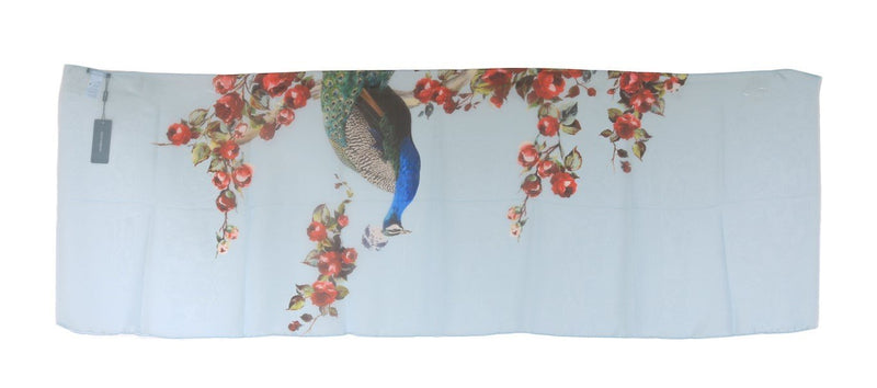 Blue Bird Floral Print Silk Scarf