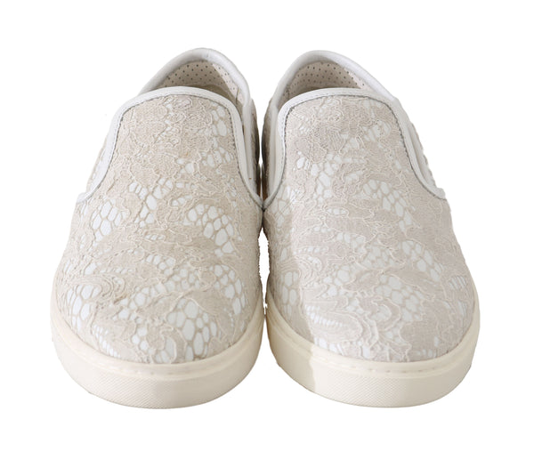 White Leather Lace Slip On Loafers