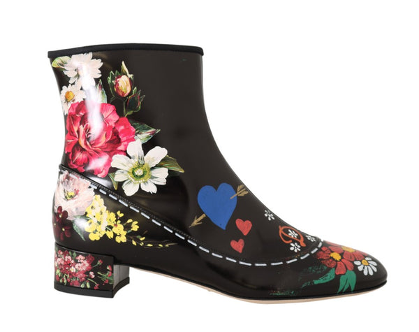 Black Leather Floral Ankle Boots