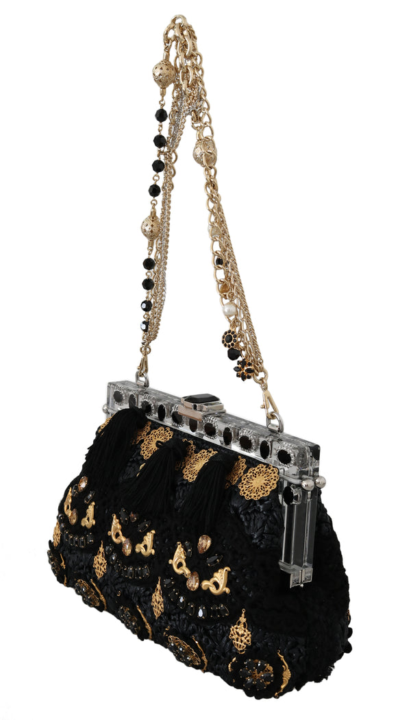VANDA Black Tassel Gold Baroque Crystal Purse