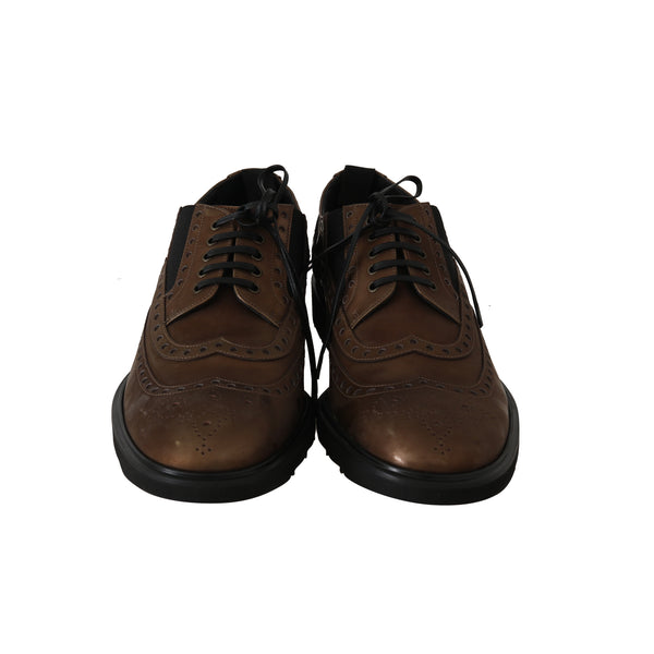 Brown Leather Derby Wingtip Dress Shoes
