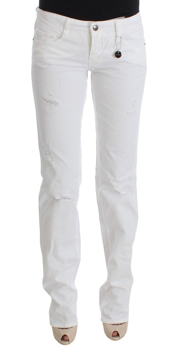 White Cotton Slim Fit Denim Bootcut Jeans