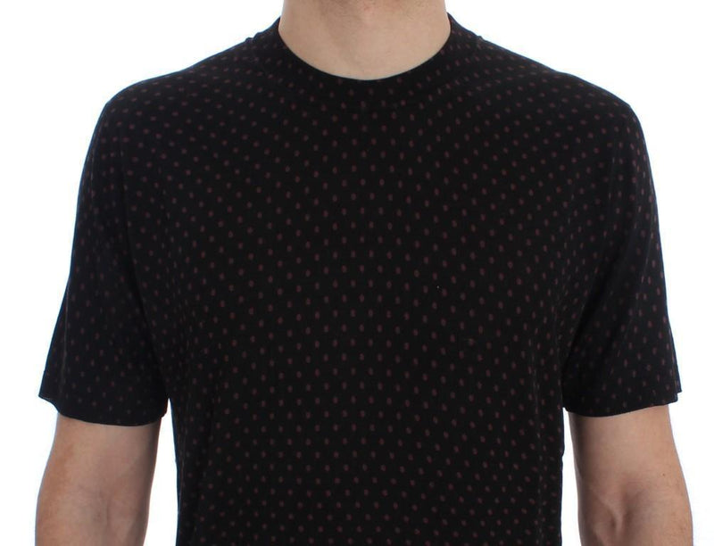 Black Red Polka Dotted Silk T-shirt