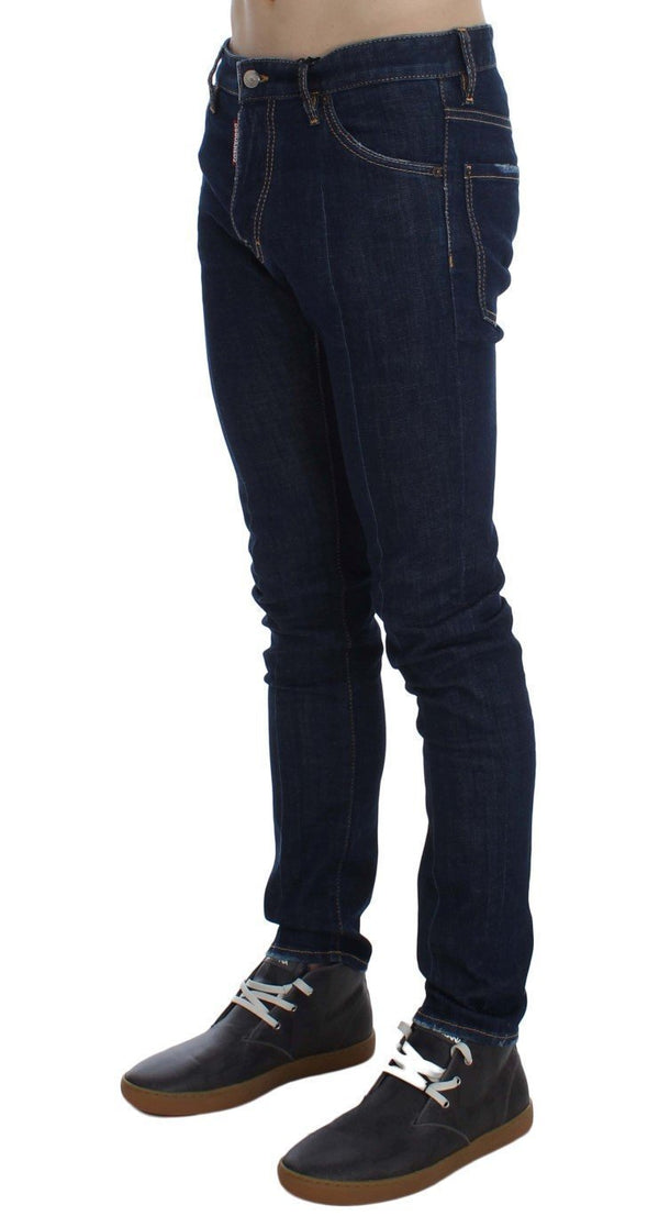 Blue Cotton Stretch Slim Skinny Jeans