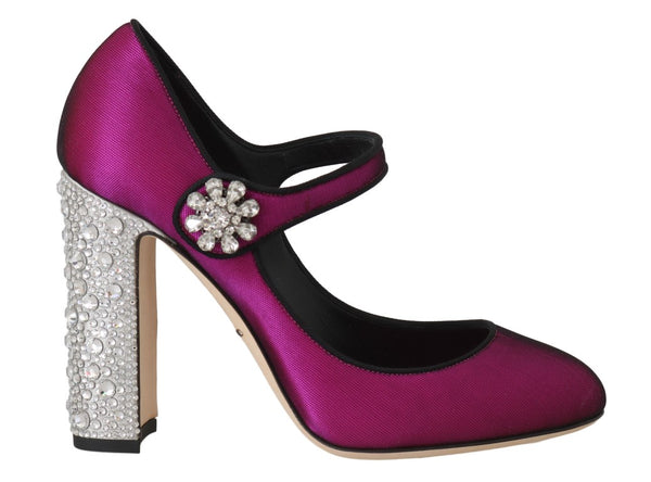 Pink Silk Crystal Mary Janes Pumps