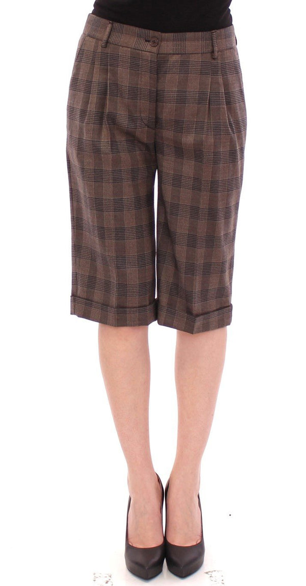 Brown checkered wool shorts pants
