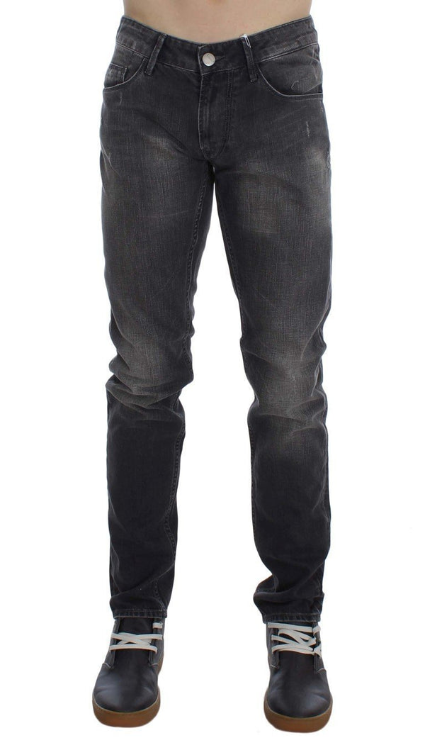 Gray Cotton Stretch Super Slim Fit Jeans