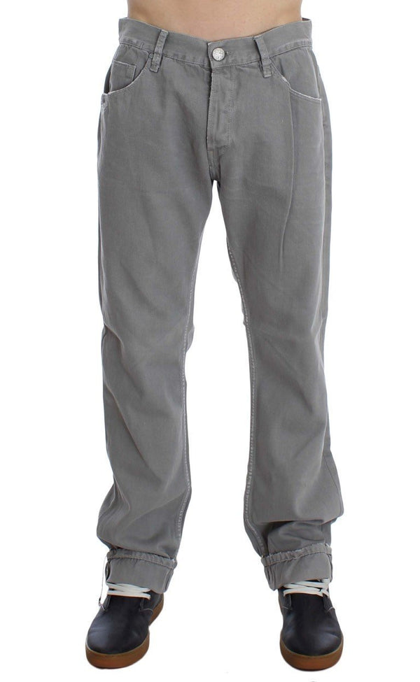 Gray Cotton Straight Fit Jeans
