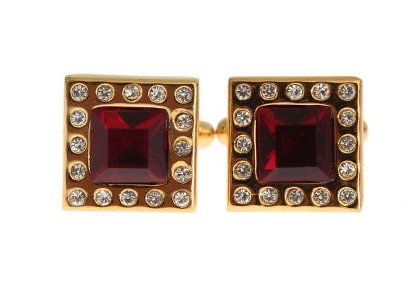 Gold Brass Clear Red Crystal Cufflinks