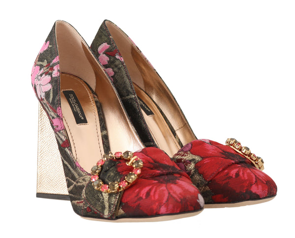 Red Jacquard Floral Crystal Pumps