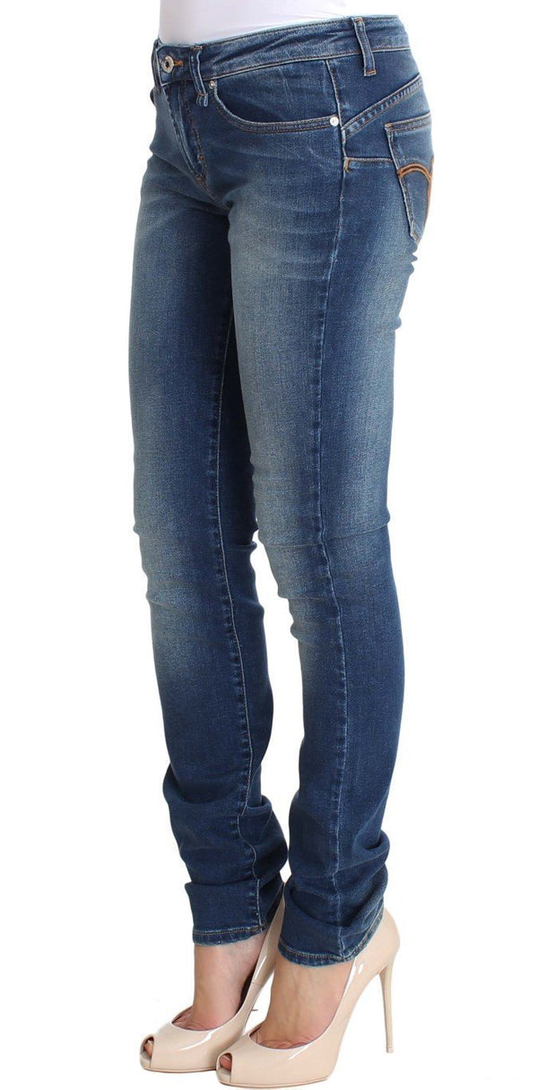 Blue Wash Cotton Denim Stretch Slim Fit Jeans