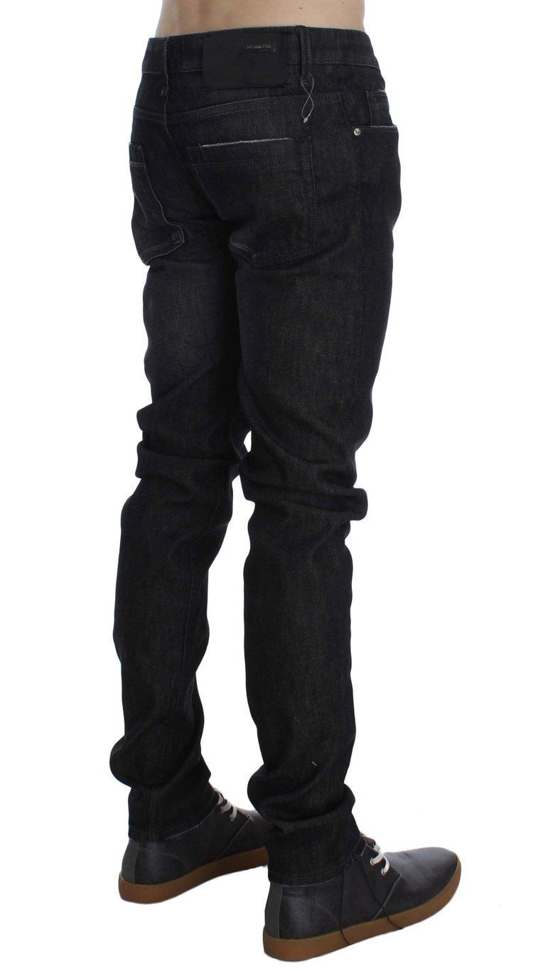 Black Cotton Stretch Slim Fit Jeans