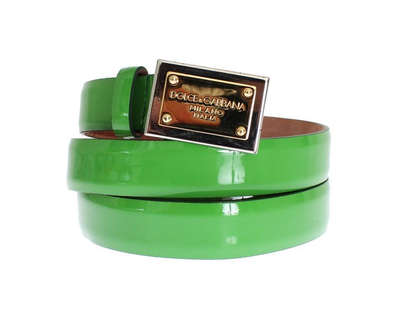 Green Leather Gold Branded Buckle Belt