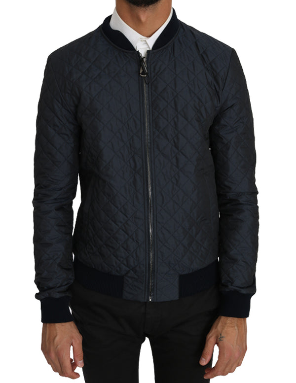 Blue Quilted Logo Fashion Bomber Jacket