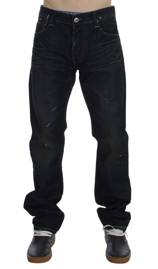 Blue Wash Cotton Denim Straight Fit Jeans
